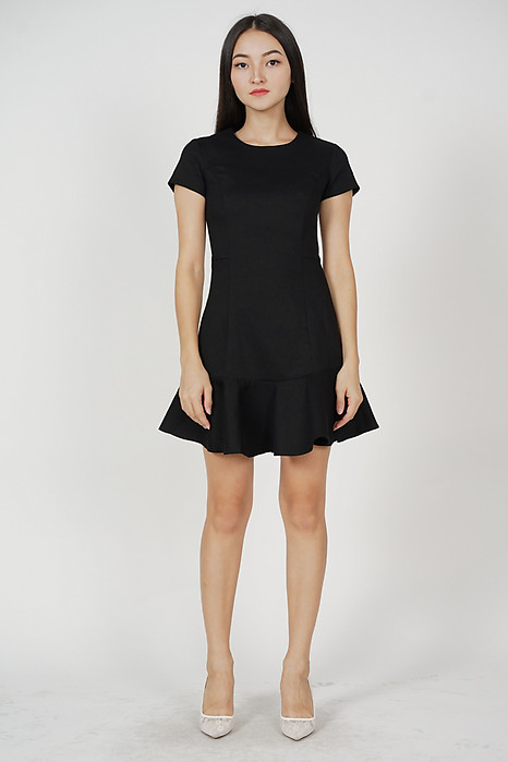Sonya Ruffled-Hem Dress in Black