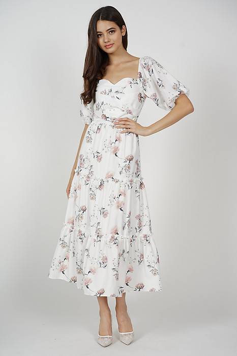 Lucinda Gathered Dress in White Porcelain Bloom