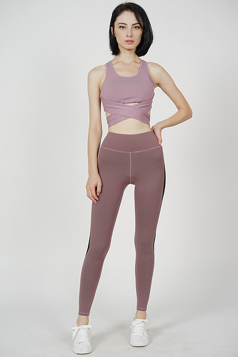 Noria Criss Cross Tie Top in Violet - Arriving Soon