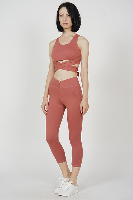 Disha Cutout Gym Tights in Pink