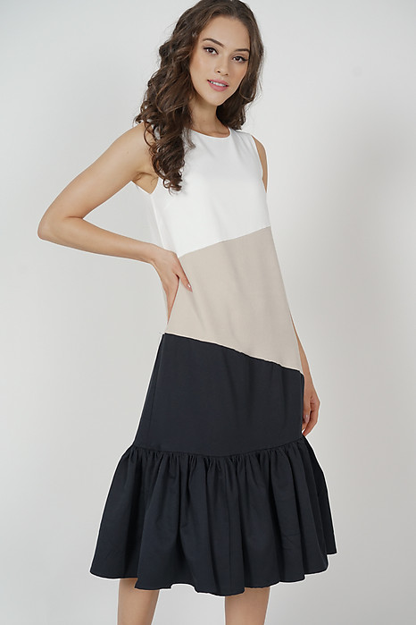 Reggie Color-Block Dress in Nude Black - Arriving Soon