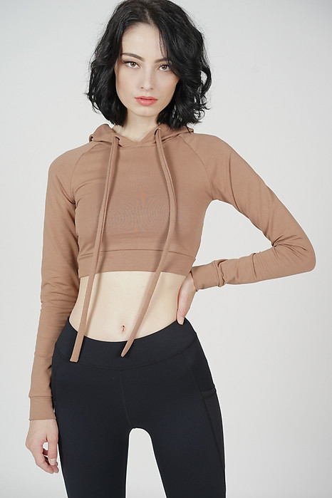 Kinsey Cropped Pullover Hoodie in Brown