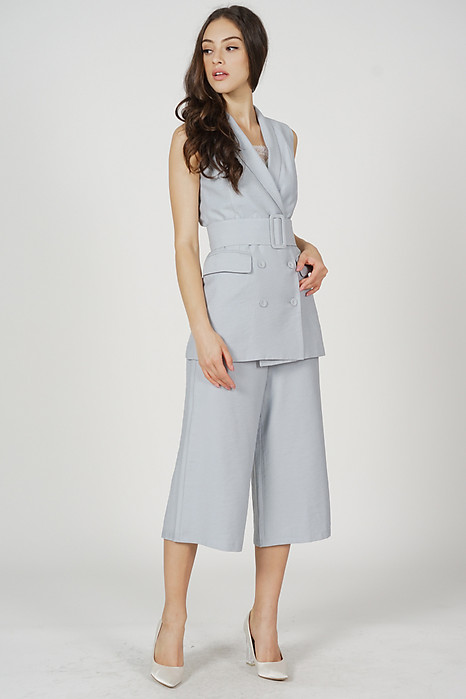 Alena Belted Culottes in Ash Blue