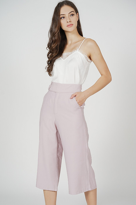 Alena Belted Culottes in Pink
