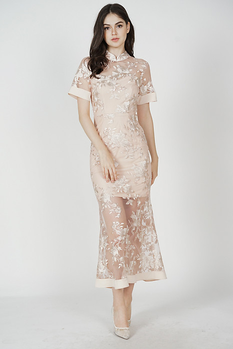 Varla Sheer Dress in Nude Pink