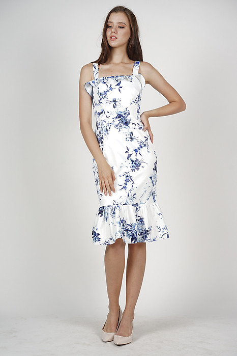 Perina Ruffled Dress in White Floral