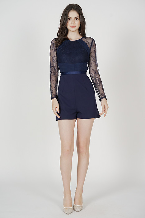 Jessie Lace Romper in Midnight - Arriving Soon