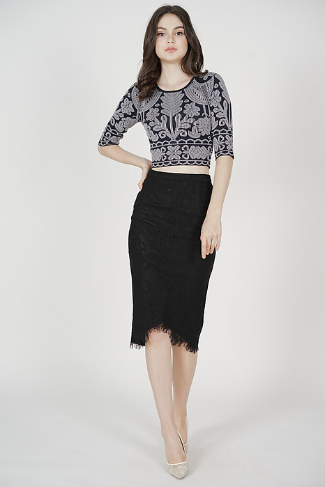Muriel Printed Knit Top in Black - Arriving Soon