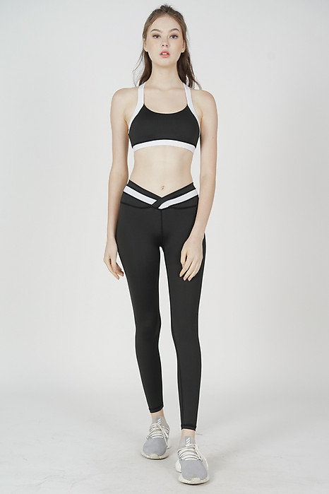 Geri Contrast Padded Top in Black White - Arriving Soon