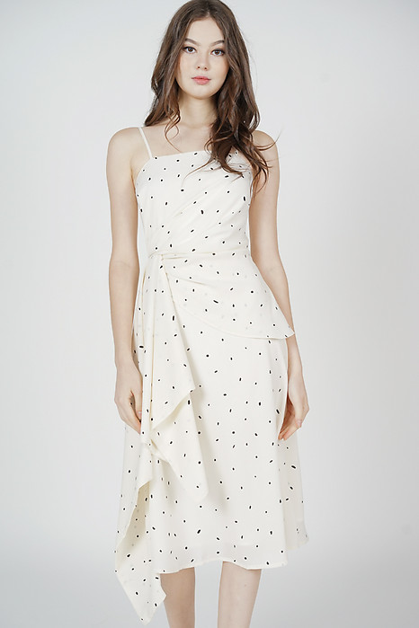 Halyon Side Ruffled Dress in White Dots - Arriving Soon