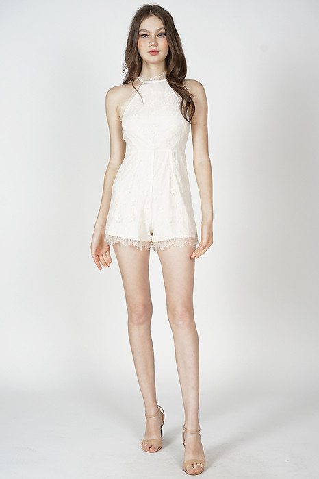 Zael Lace-Trimmed Romper in Cream - Arriving Soon