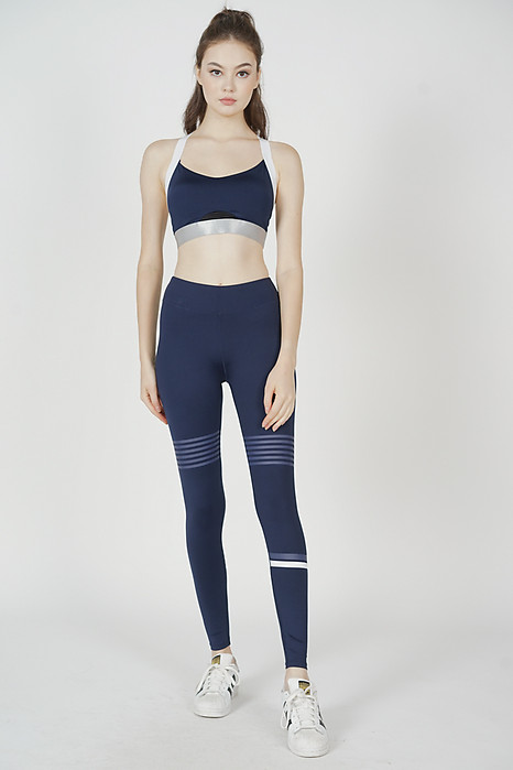 Dalma Contrast Padded Top in Navy - Arriving Soon