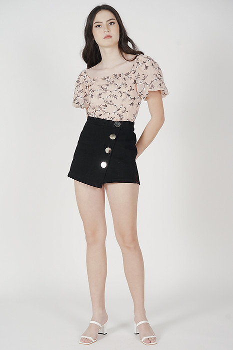 Urei Asymmetrical Mini Skorts in Black - Online Exclusive