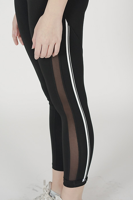 Ethan Striped Mesh Gym Tights in Black - Arriving Soon