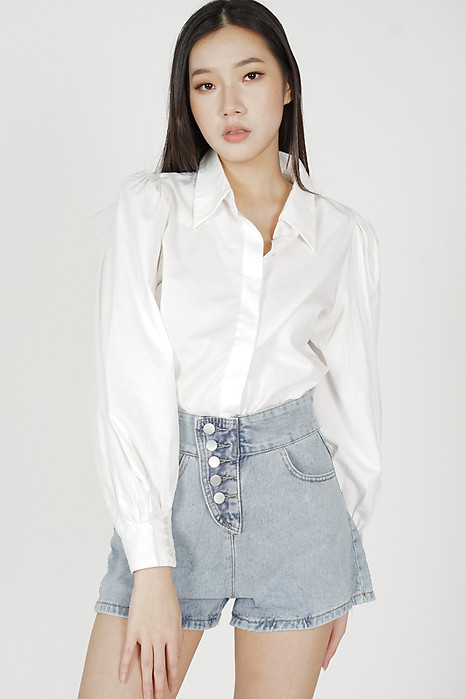 Nona High Waisted Shorts in Blue - Online Exclusive