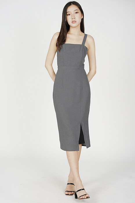 Weiren Midi Dress in Dark Grey - Arriving Soon