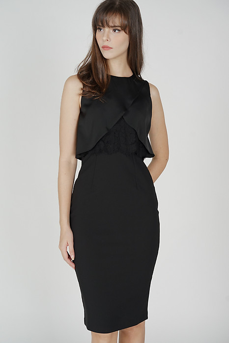 Willem Overlay Dress in Black - Arriving Soon