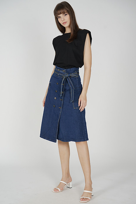 Ericka Denim Midi Skirt in Dark Blue - Online Exclusive