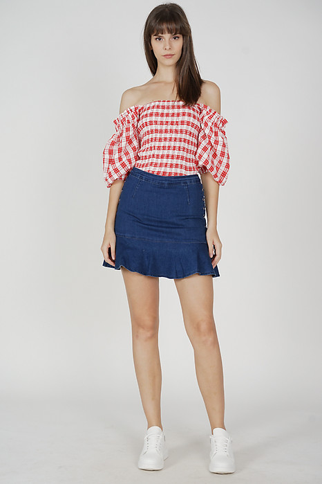 Umi Smocked Top in Red Gingham - Arriving Soon