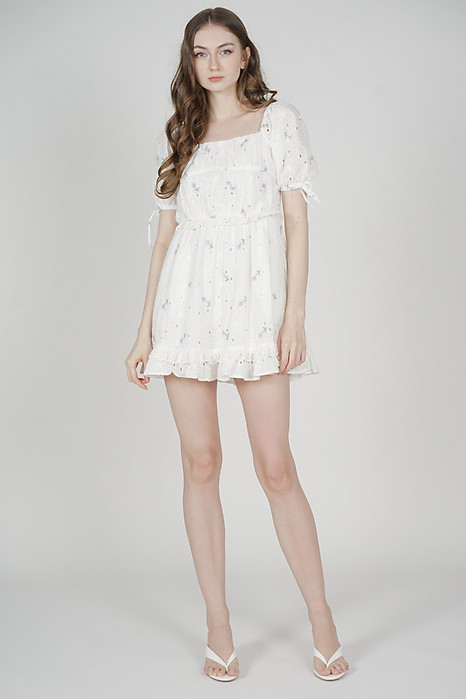Brieley Eyelet Skorts Romper in White - Arriving Soon