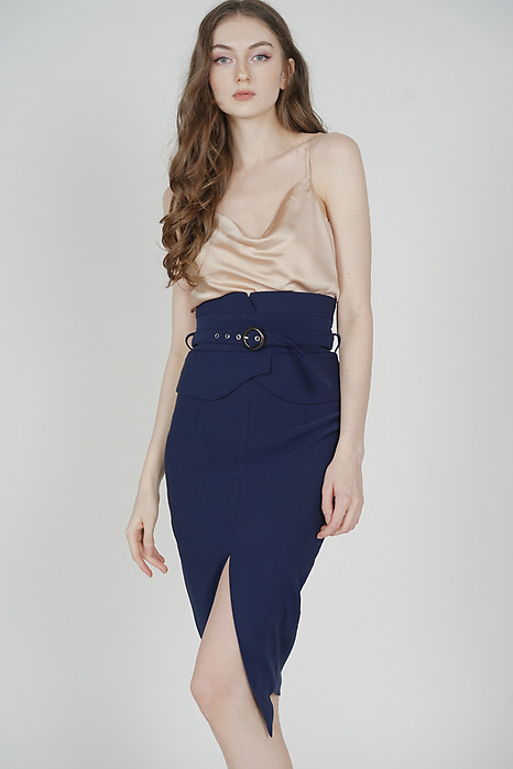 Oifa Buckled Midi Skirt in Navy - Arriving Soon