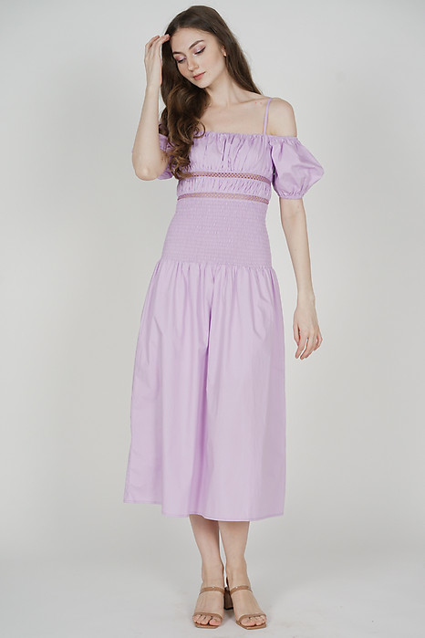 Janey Gathered Dress in Lilac - Arriving Soon