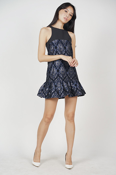 Verda Ruffled-Hem Dress in Black