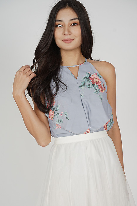 Cutout Ruffled Top in Ash Blue Floral