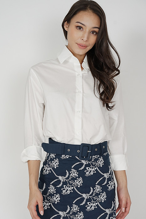 Belin Collared Top in White - Online Exclusive
