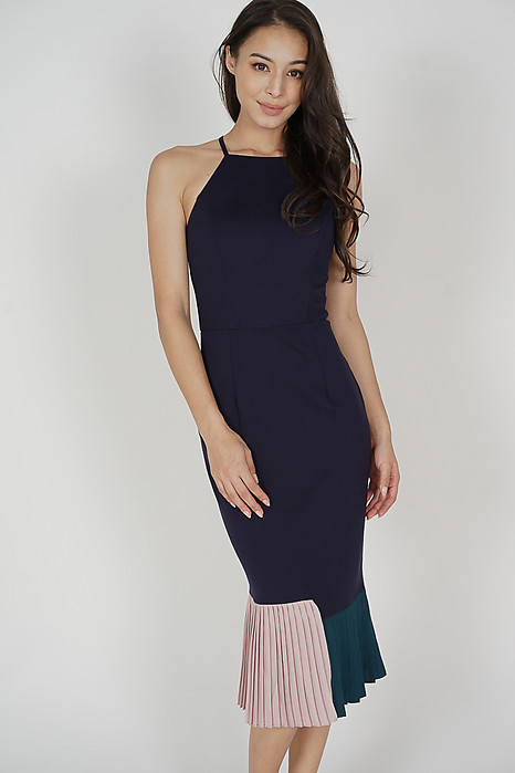 Dilara Pleated-Hem Dress in Midnight - Arriving Soon