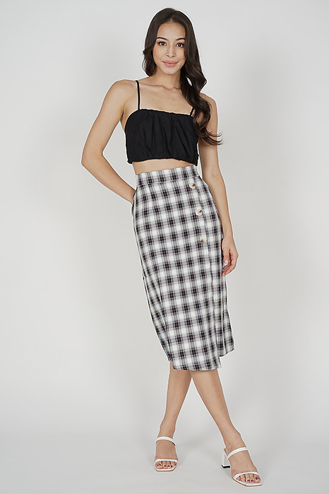 Oina Midi Skirt in Black Gingham - Online Exclusive