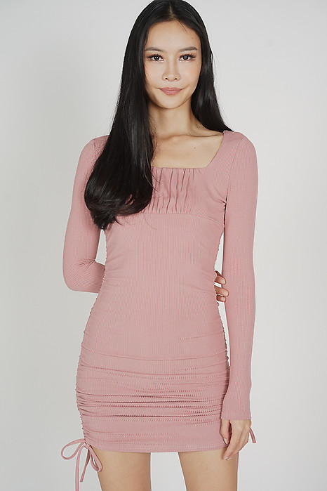 Celly Sleeved Dress in Pink - Online Exclusive
