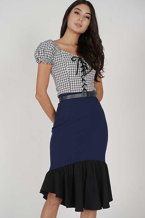 Maxie Ruffled-Hem Skirt in Midnight
