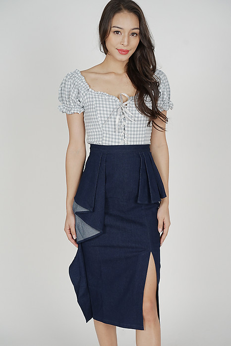 Drakey Asymmetrical Denim Skirt in Blue