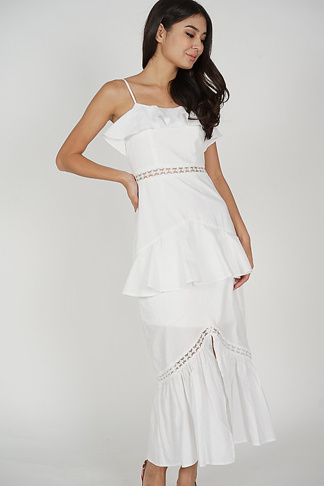 Geena Ruffled Dress in White - Arriving Soon