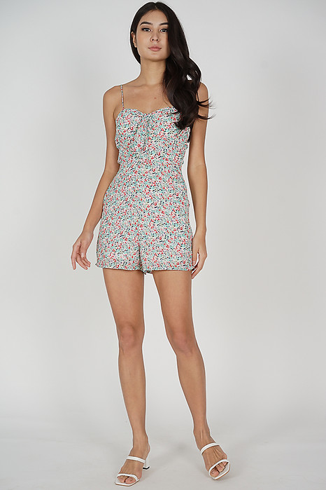 Sohyun Cami Romper in Green Floral