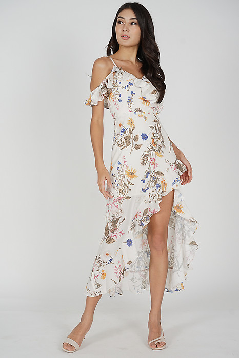 Asymmetrical Frilly Dress in Yellow Floral