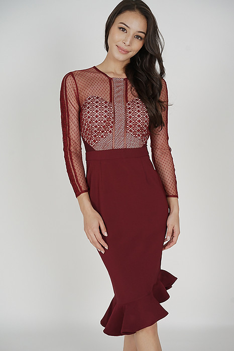 Sofya Lace Dress in Oxblood - Arriving Soon