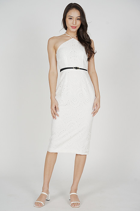 Harryn Eyelet Dress in White - Arriving Soon