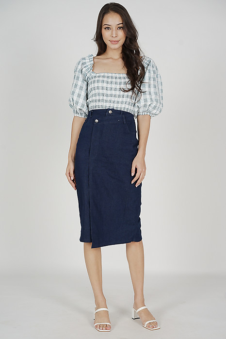 Umi Smocked Top in Grey Gingham - Arriving Soon