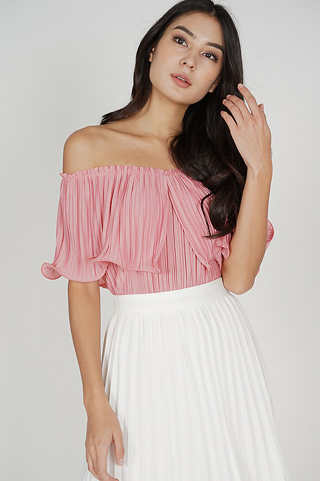 Jubi Pleated Ruffle Top in Rose Pink - Arriving Soon