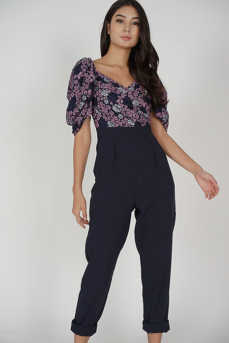 Bretnia Contrast Jumpsuit in Midnight - Arriving Soon