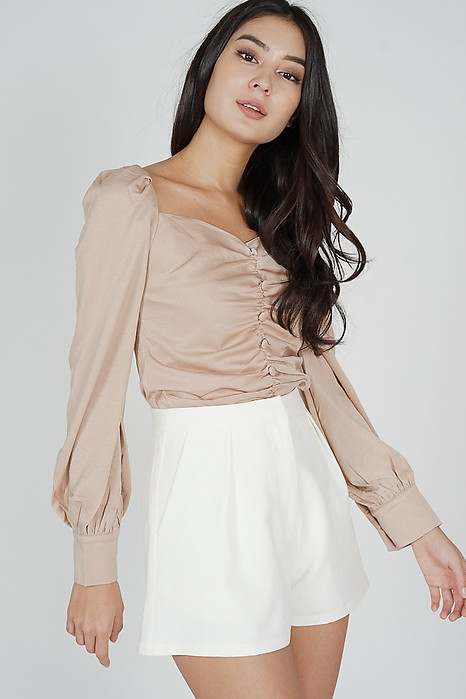 Camille Ruched Top in Nude - Online Exclusive