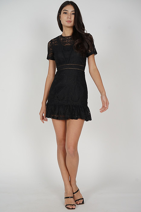Evyn Lace Dress in Black - Arriving Soon