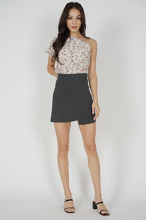Holly Asymmetric Skorts in Grey - Online Exclusive