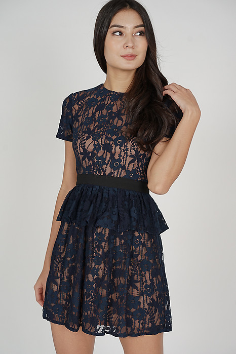 Neina Lace Dress in Midnight - Arriving Soon