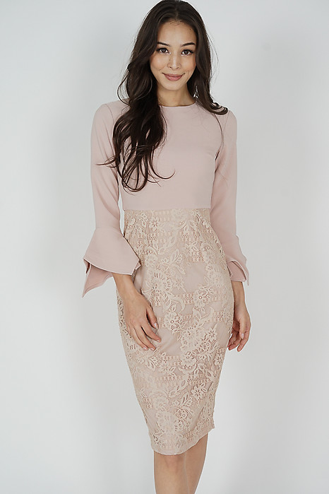 Raini Contrast Lace Dress in Pink