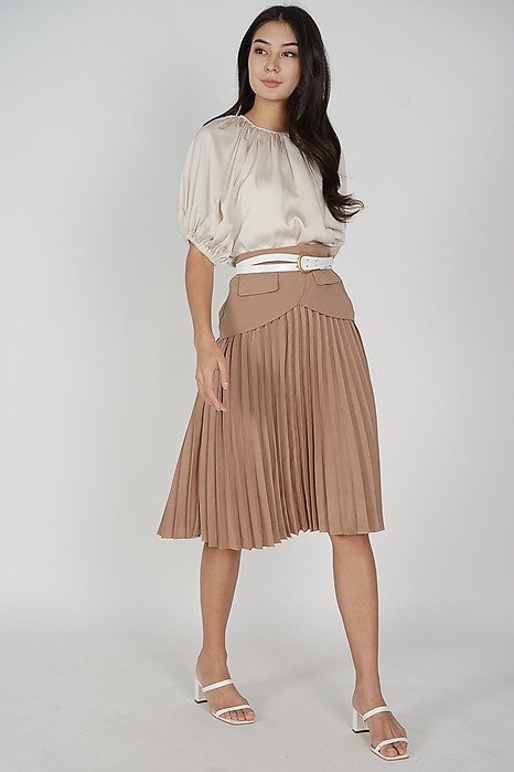 Mariah Pleated Skirt in Khaki