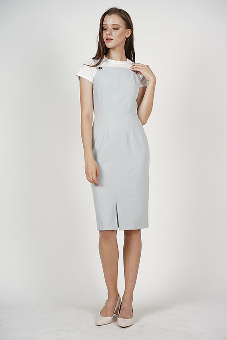 Hermione Button Dress in Ash Blue