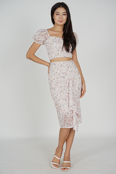 Dofia Lace Skirt in Pink Floral - Arriving Soon